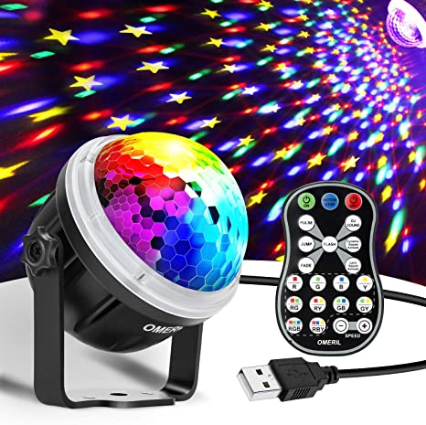 Amazon Com Omeril Party Lights Disco Ball Usb Powered 11 Rgby Color Disco Lights Sound Activated Strobe Light With Remote Control Dj Lights For Home Room Parties Birthday Bar Karaoke Xmas Wedding