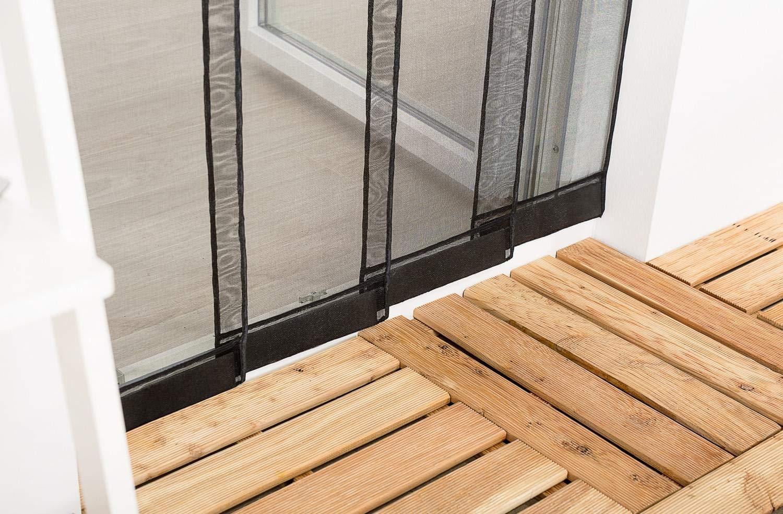 Moustiquaire Rideau 4 Lamelles avec Poids SMART CLIP L100 x H220 cm Noir