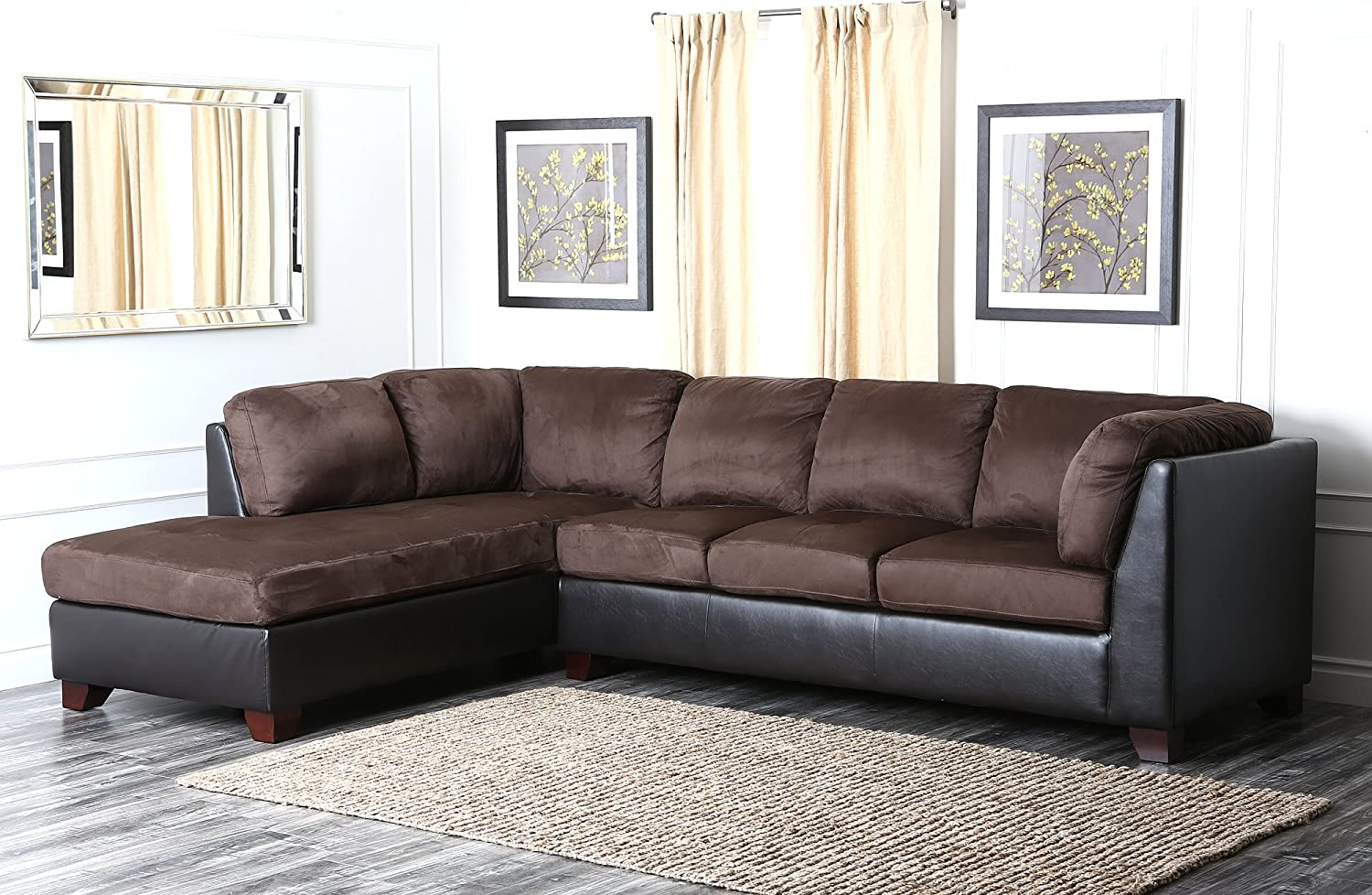 Monarch Chocolate Brown Microfiber Sectional Sofa Www