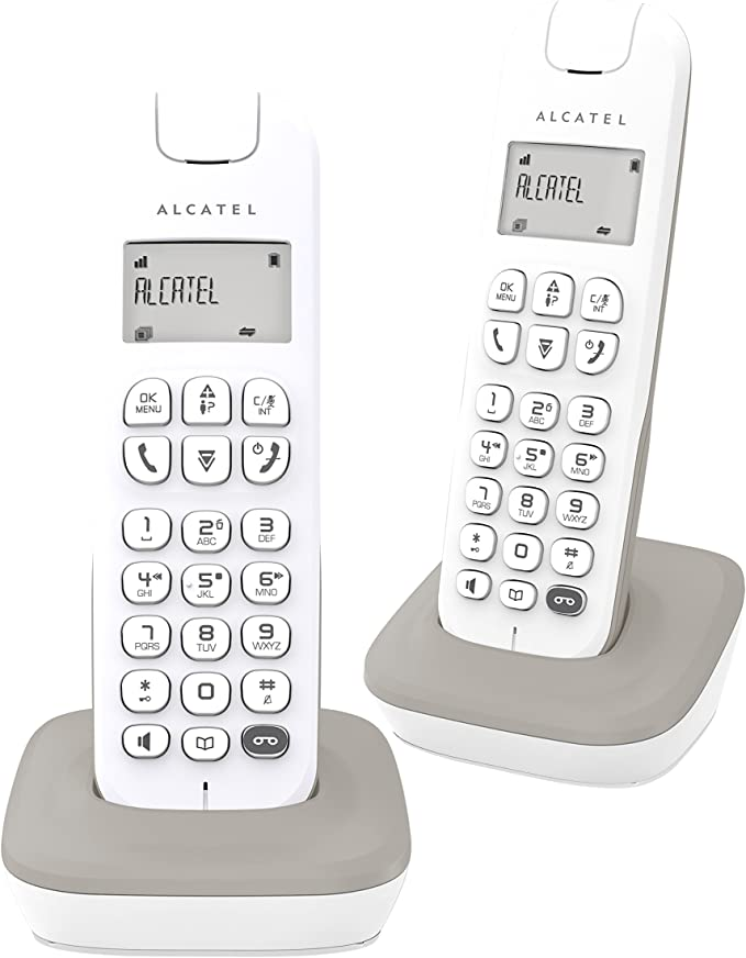 Alcatel D185 - Teléfono (Teléfono DECT, Terminal inalámbrico, Altavoz, 20 entradas, Identificador de Llamadas, Gris, Blanco): Amazon.es: Electrónica