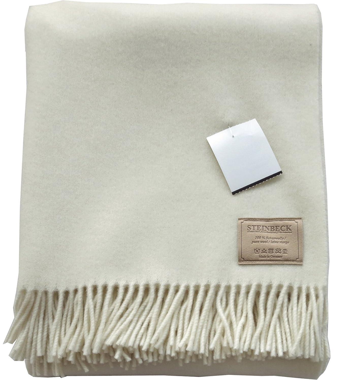 Opti Steinbeck Cremefarbene Wolldecke 130x190cm mit Fransen, 100% naturbelassene Schurwolle