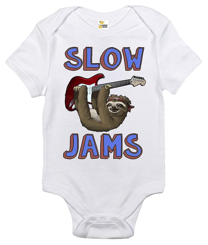 9eb82b5054cc Amazon.com  Slow Jams Sloth Baby Bodysuit Cute Music Baby Clothes ...