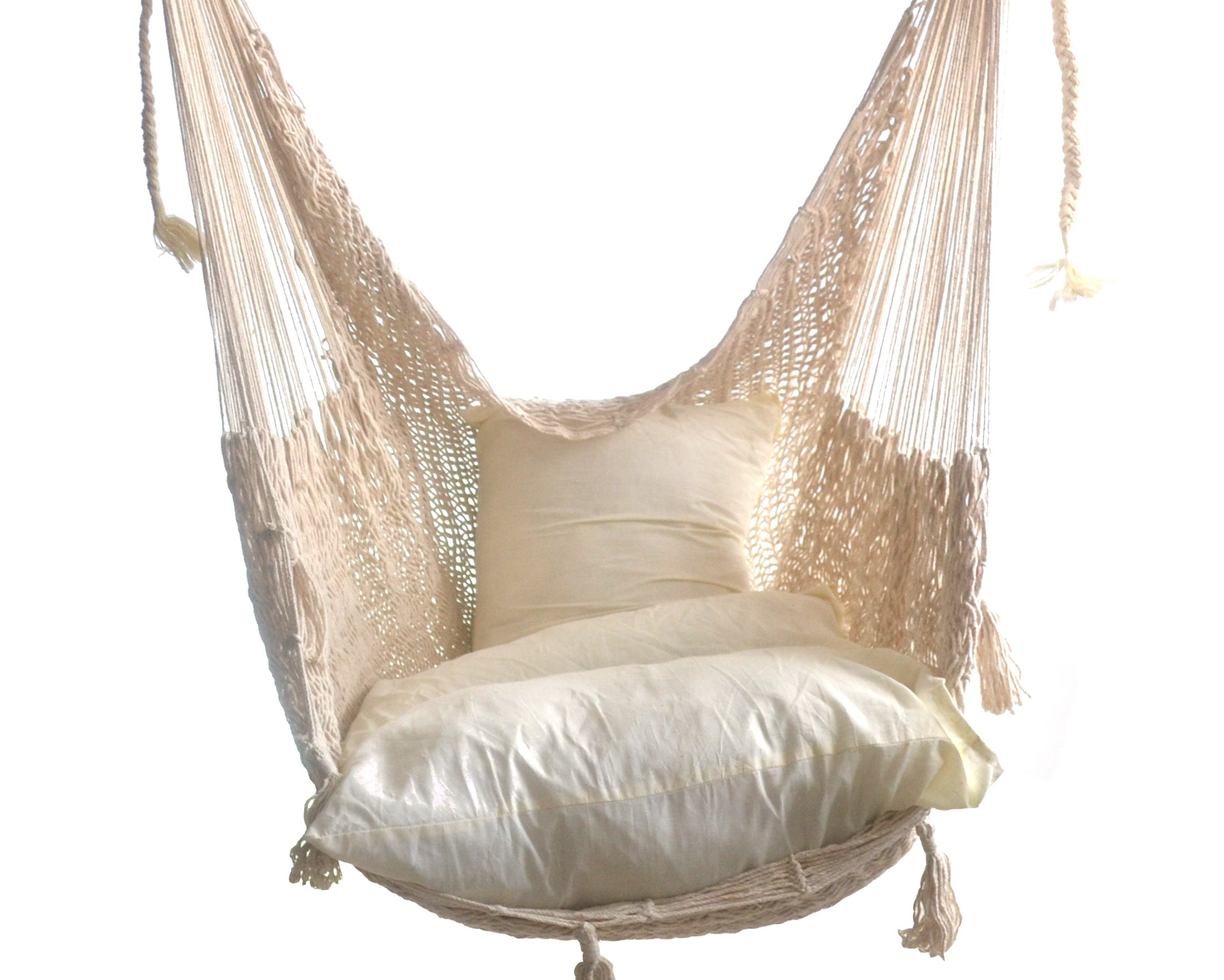 Hammocks Rada - CHAIR HAMMOCK DELUXE (Natural) - - THE BEST CHAIR HAMMOCK MAYAN STYLE , this Chair Hammock is elegance, wider, comfy, soft, make with natural cotton fibers - HIGH QUALITY, the Chair is make with tight weave using Thicker Strings in Cotton - RESISTANT, the Cotton Thicker Strings make strong the Chair Hammock and the Nylon Rope is make with Nylon Strings offering strength in all its components - patio-furniture, patio, hammocks - 81RjzRJ70IL -