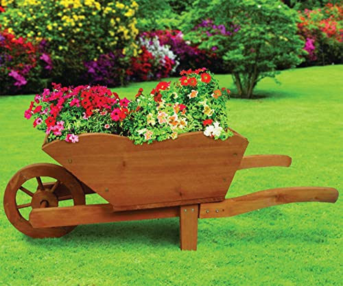 Wooden Wheel Barrels: Wooden Decorative Wheelbarrow Planter For Gardens: Amazon