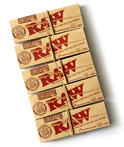 RAW Organic Connoisseur 1 25 1 1/4 Rolling Paper with Tips (5 Packs)