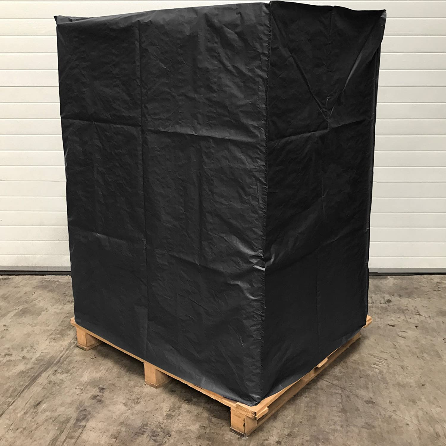 Black//Silver, EU Pallet 1m High vtarp /® UK EU Pallet Protective Cover 120 GSM Heavy Duty Weatherproof Fitted Reusable