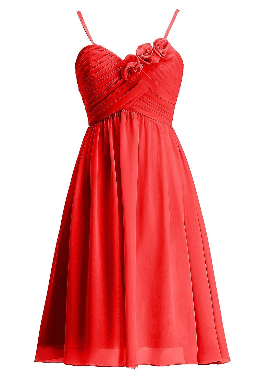 Rouge 6 ans fille KekeHouse® Robe à Fines Bretelle Courte de Cérémonie Soirée Mariage Femme Fille Robe de Demoiselle d'honneur