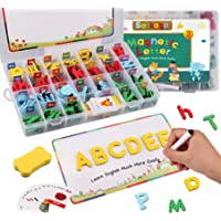 Magnetic Letters, Satkago 182pcs Magnetic Foam Alphabet Letters with 2pcs Magnet Board for Fridge Refrigerator Set Classroom Kids Spelling Learning Educational Toy