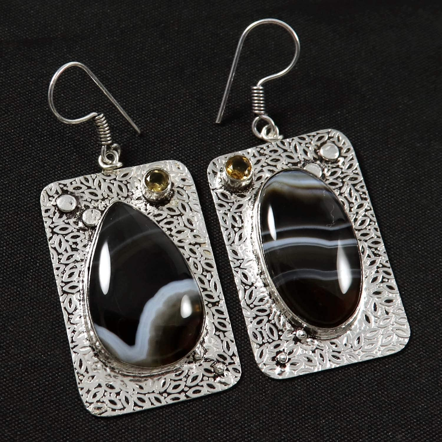 Goyal Crafts Banded Agate,Citrine Dangle Earring Natural Gemstone Silver Plated Jewelry GEF98