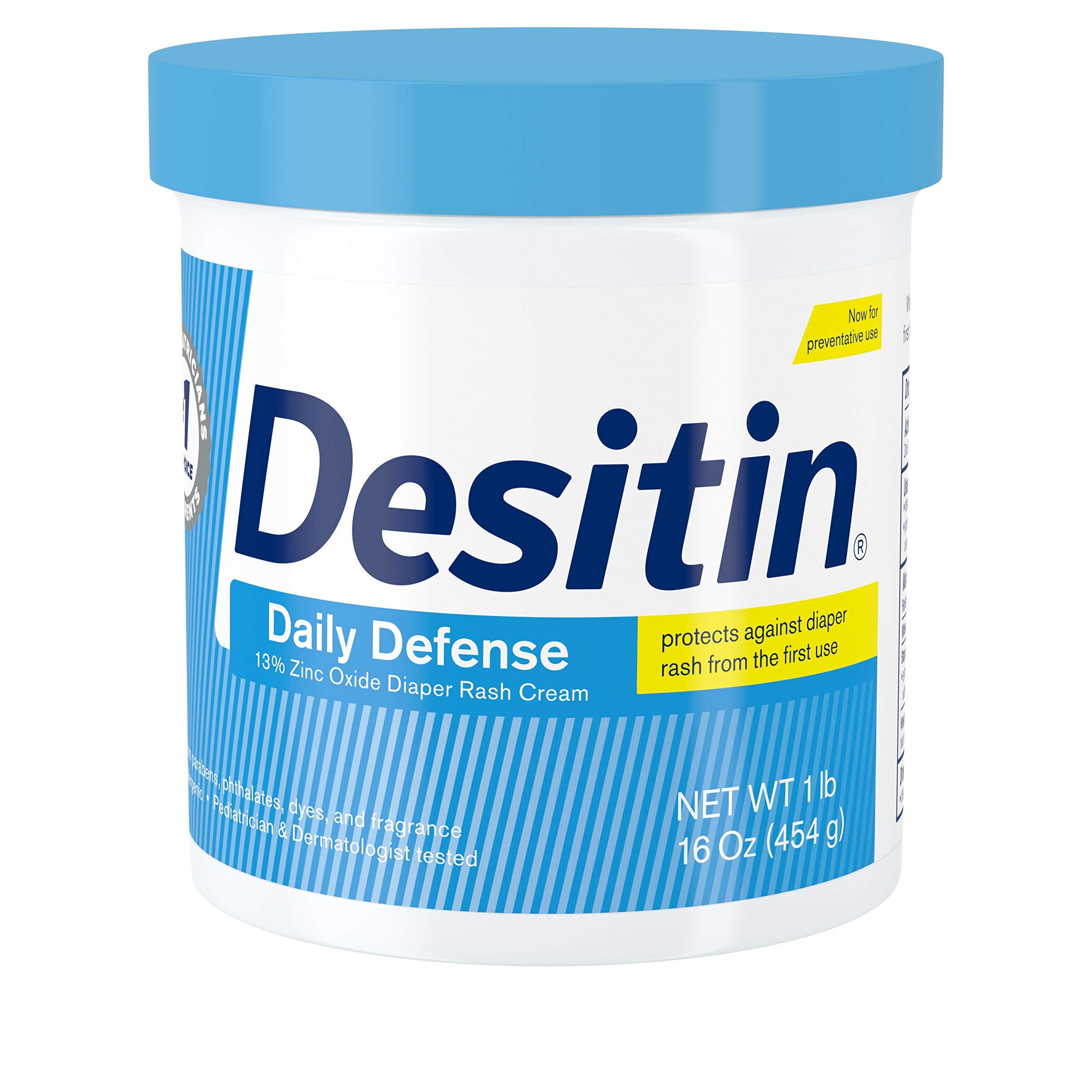 Desitin Daily Defense Baby Diaper Rash Cream with Zinc Oxide to Treat, Relieve & Prevent diaper rash, 16 oz
