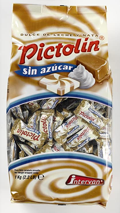 Pictolín Dulce de leche y nata sin azúcar - Caramelo de nata sabor dulce de leche sin azúcares con edulcorantes - Bolsa de 1kg: Amazon.es: Alimentación y ...