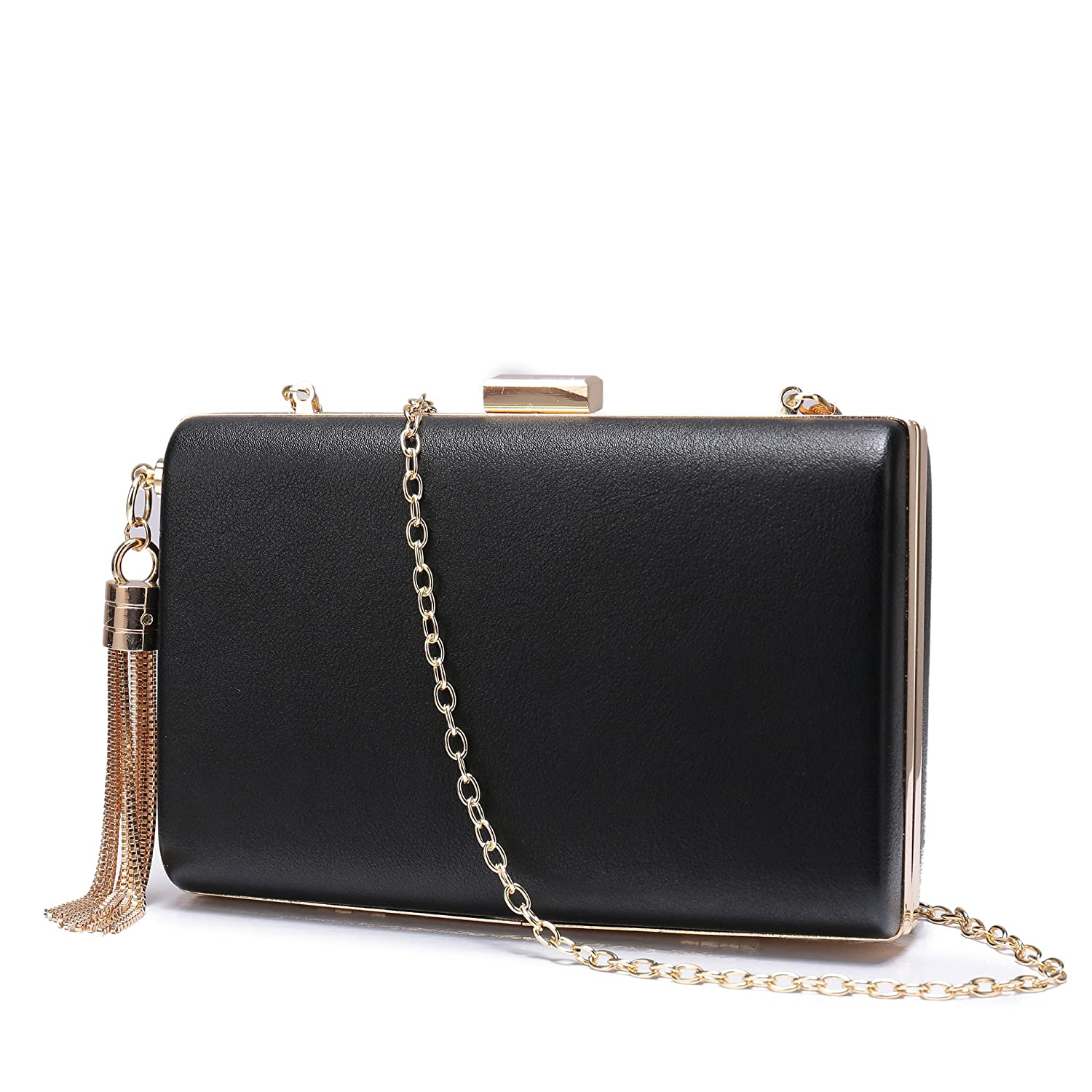 e97d96bc5f Leather Evening Clutch Handbag Clutch Purse Prom for Cocktail Wedding Women  Black  Handbags  Amazon.com