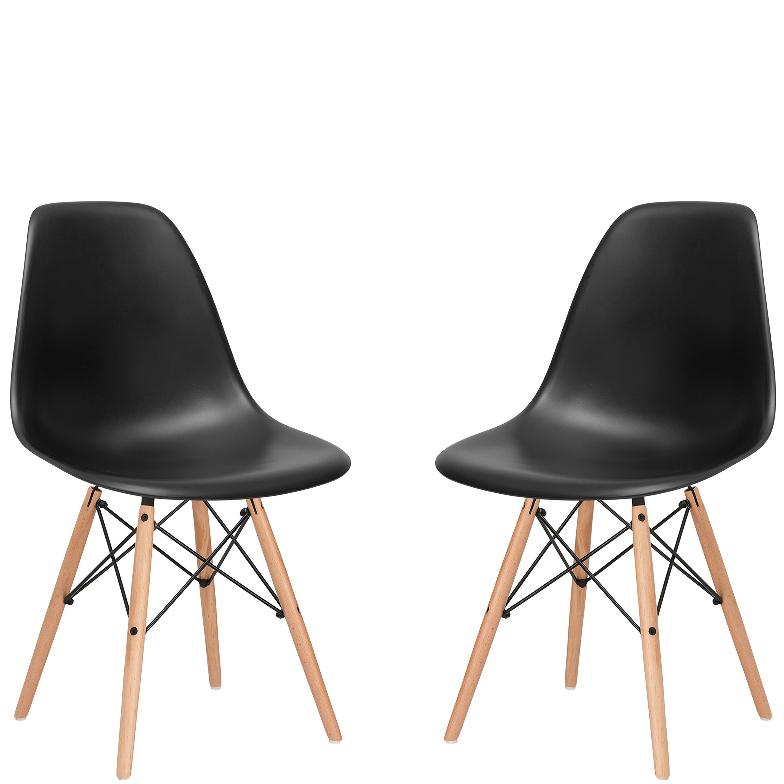 Poly and Bark Vortex Side Chair, Black, Set of 2