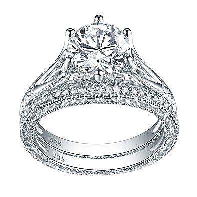 Amazon Com Newshe Jewellery Sterling Silver Cz Wedding Ring Sets