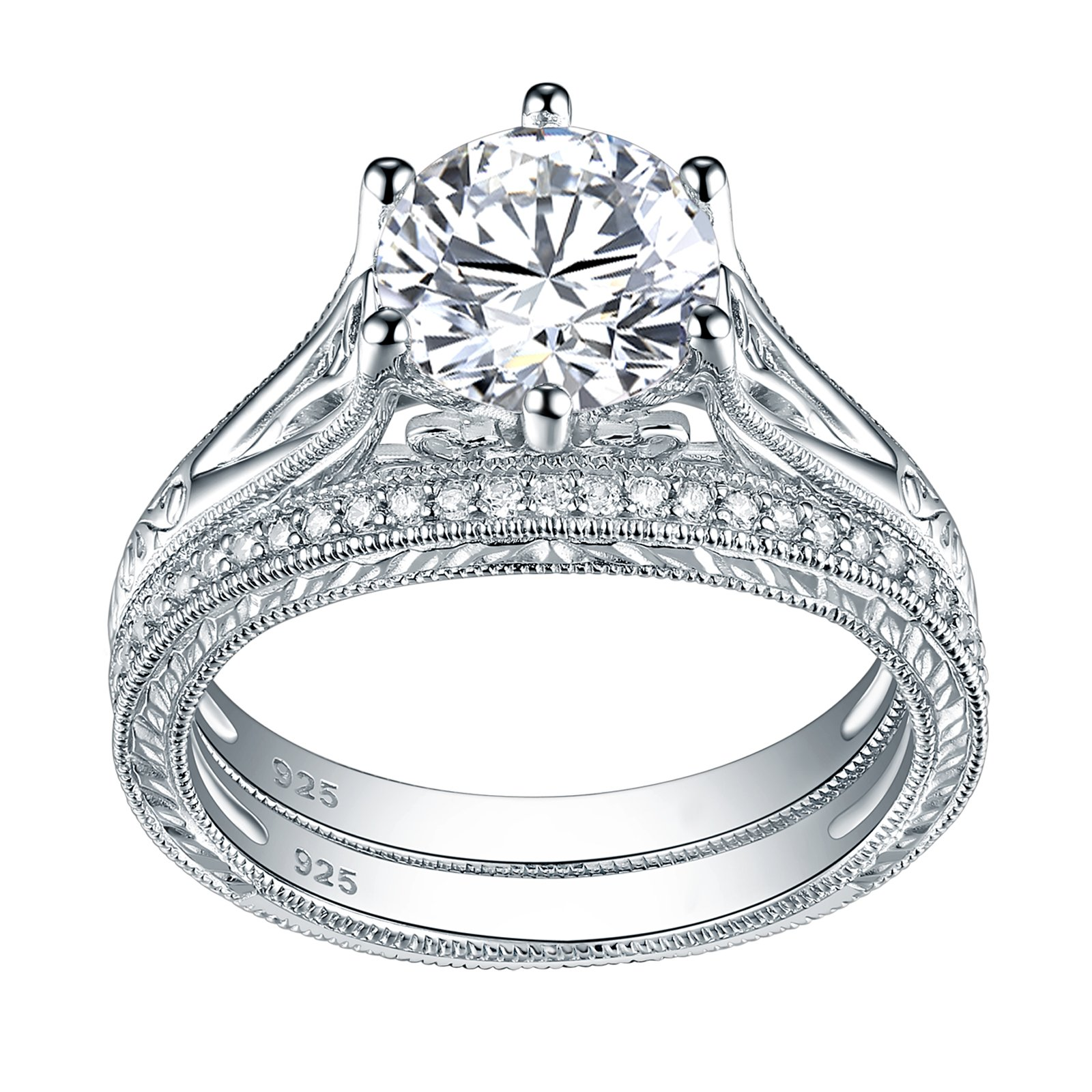 Newshe Jewellery Sterling Silver Cz Wedding Ring Sets Vintage Engagement Rings for Women 2.2ct Round Size 9