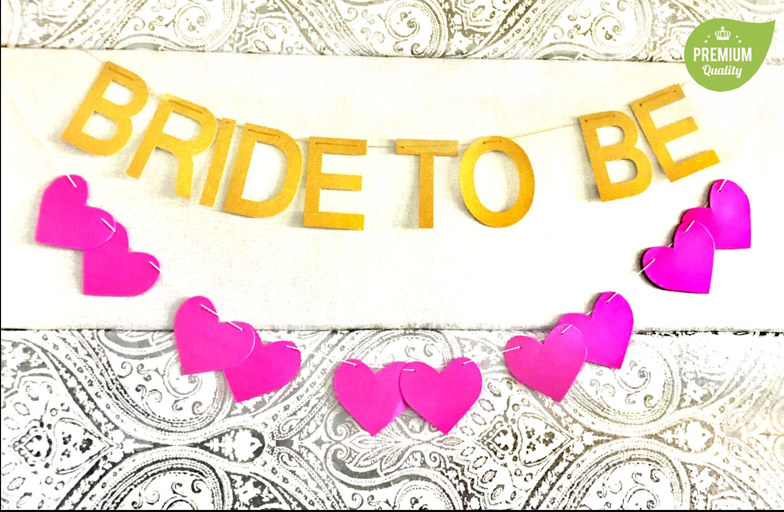 Bachelorette Party Decorations Kit Gold - Pink Heart Banner, Bridal Shower Sash, Bride to Be Banner, Bachelorette Party Straws, Bride Tribe Pins, Gold Balloons by Montpelle (Image #6)