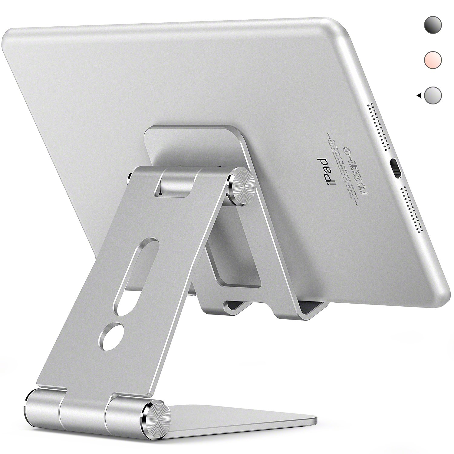 Adjustable Tablet Stand,Aodh Multi-Angle iPad Stand,Cell Phone Stand,iPhone Stand Dock, Nintendo Switch Stand and Holder for iPad, Android Smartphones, Samsung, Kindle Accessories (4-13 inch)(Silver)