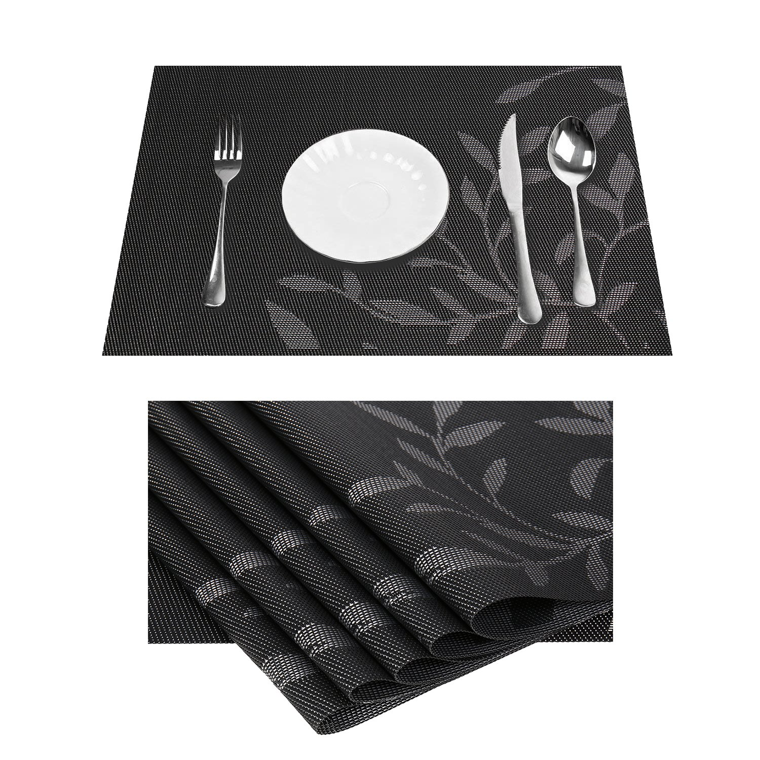 Vinyl Black Table Mats Placemats For Kitchen Table Mats