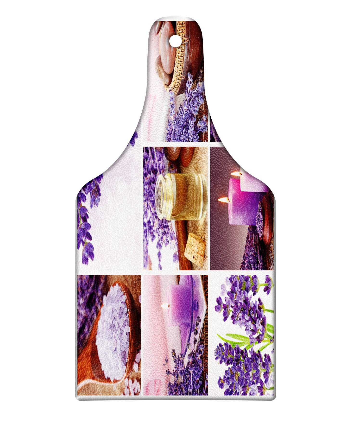 Lunarable Spa Cutting Board, Lavender Garden Alike Themed Relaxing Candles Stones Herbal Salt Elements Image, Decorative Tempered Glass Cutting and Serving Board, Wine Bottle Shape, Purple and White