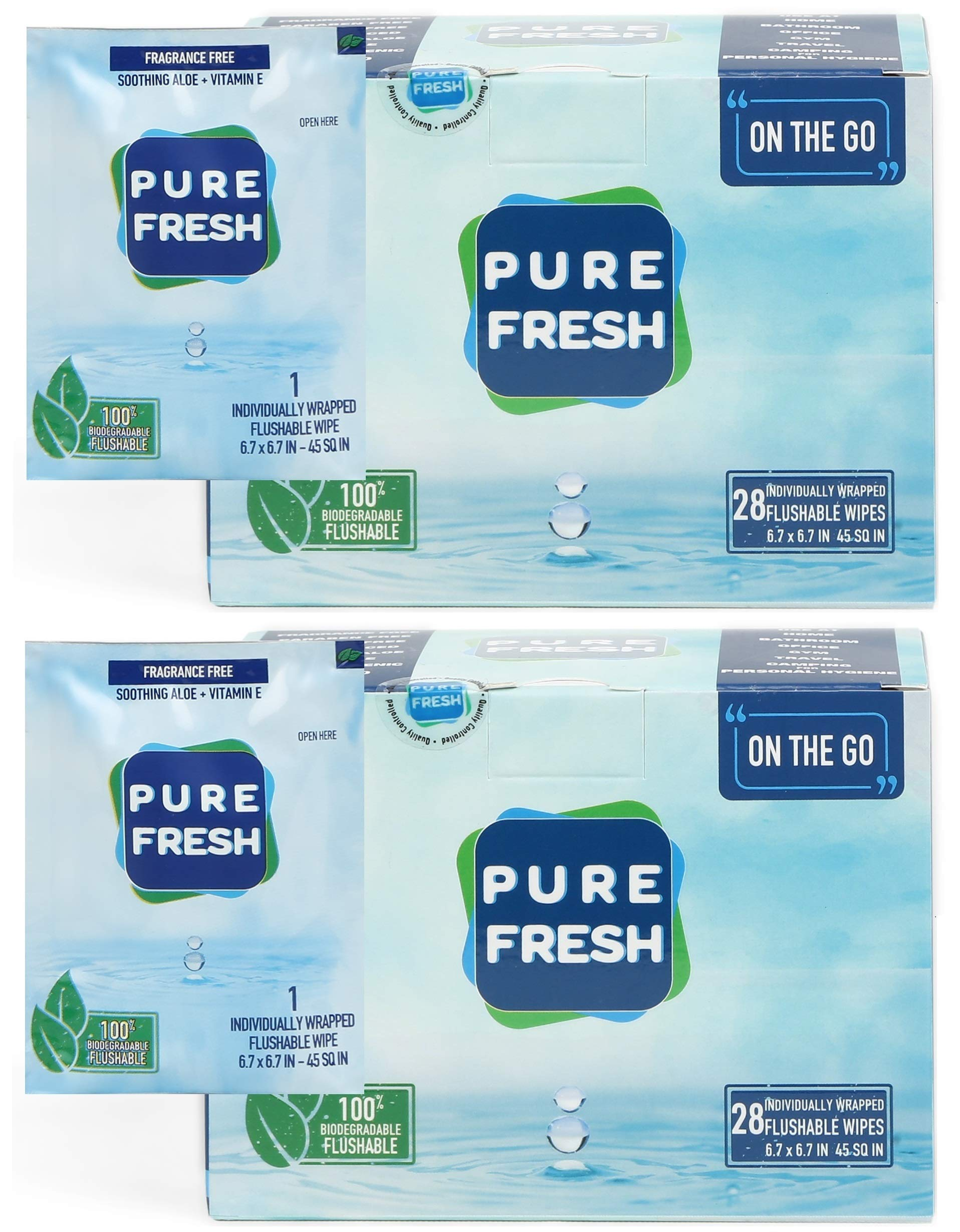 PureFresh Wet Wipes: Flushable, Individually Wrapped for Travel, 56 Singles by PureFresh