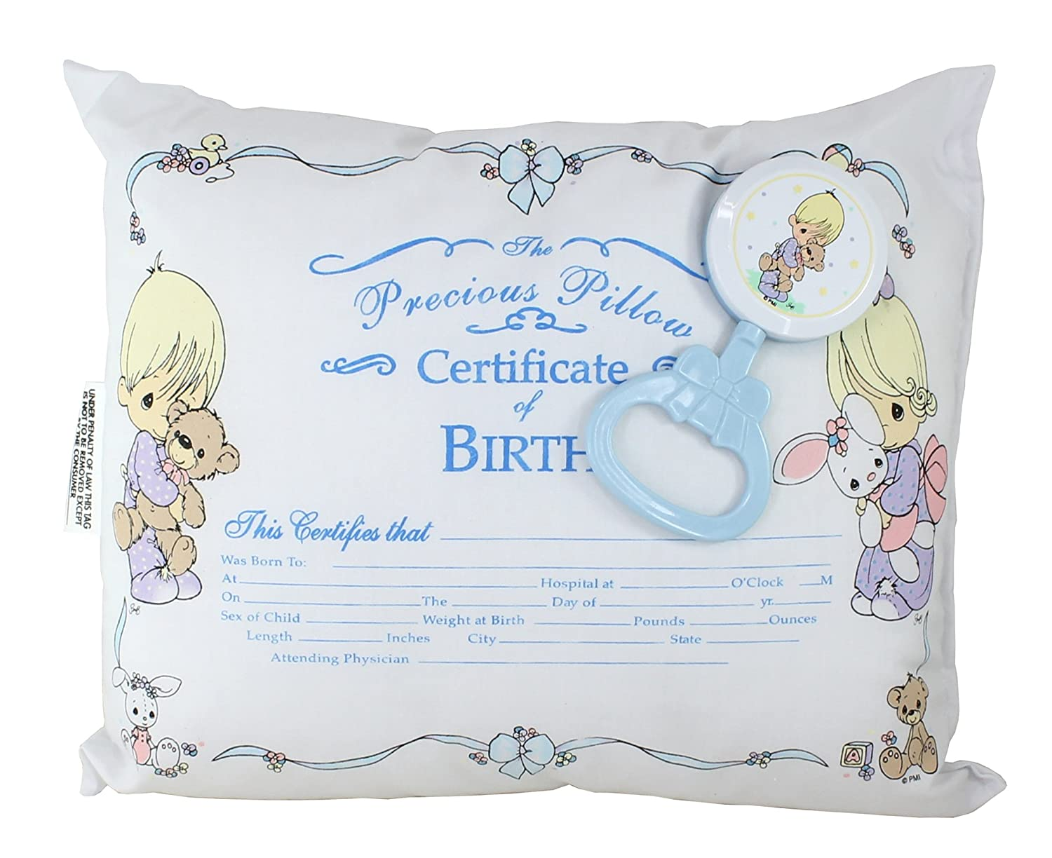 Amazon precious moments baby birth certificate pillow amazon precious moments baby birth certificate pillow rattle gift set blue nursery pillows baby xflitez Gallery