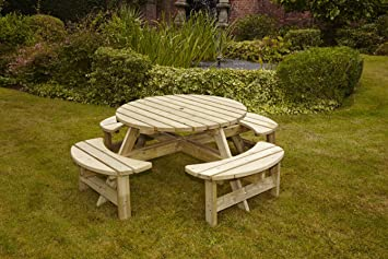 Hgg wooden round picnic bench outdoor patio solid wood garden hgg wooden round picnic bench outdoor patio solid wood garden furniture watchthetrailerfo