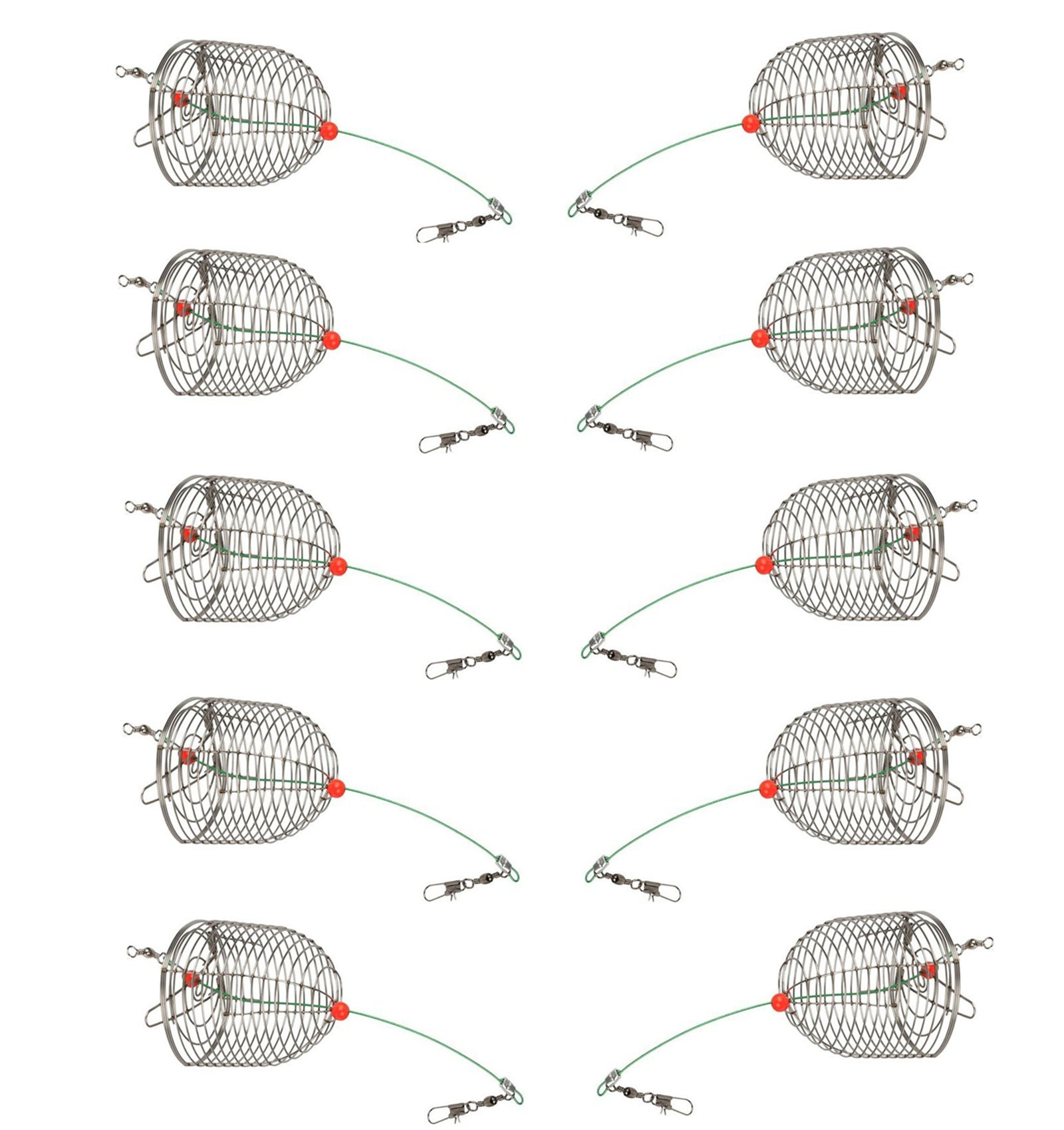 Mimilure 10Pcs/Pk Carp Fishing Bait Trap Cage Feeder Basket Holder Coarse Lure Feeder Carp Fishing Tackle Kit,Medium,Trap Dia 4CM