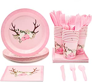 Blue Panda Disposable Dinnerware Set - Serves 24 - Floral Rustic Party Supplies for Kids Birthdays, Baby Showers - Includes Plastic Knives, Spoons, Forks, Paper Plates, Napkins, Cups