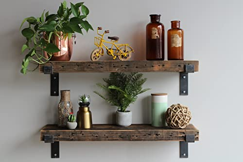 Urban Legacy Reclaimed Barn Wood Shelves Amish Handcrafted in Lancaster, PA Rustic, Industrial, with Raw Metal Brackets Rustic Brown, 36 x 10 x 2.5 Full Bracket