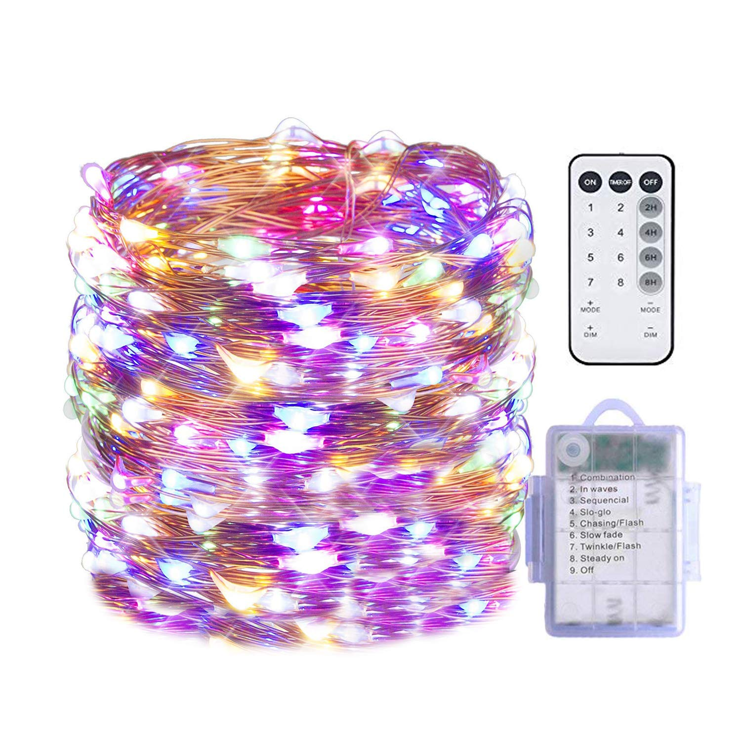 Rarlight 100 LED String Lights Battery Operated Waterproof Fairy String Lights with Remote Control Timer 8 Modes 33ft Copper Wire Christmas Lights Twinkle Lights Multi Color