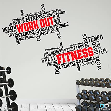 Fitness Quotes | Amazon Com 2 Large Pro Workout Fitness Motivational Wall Decals Gym