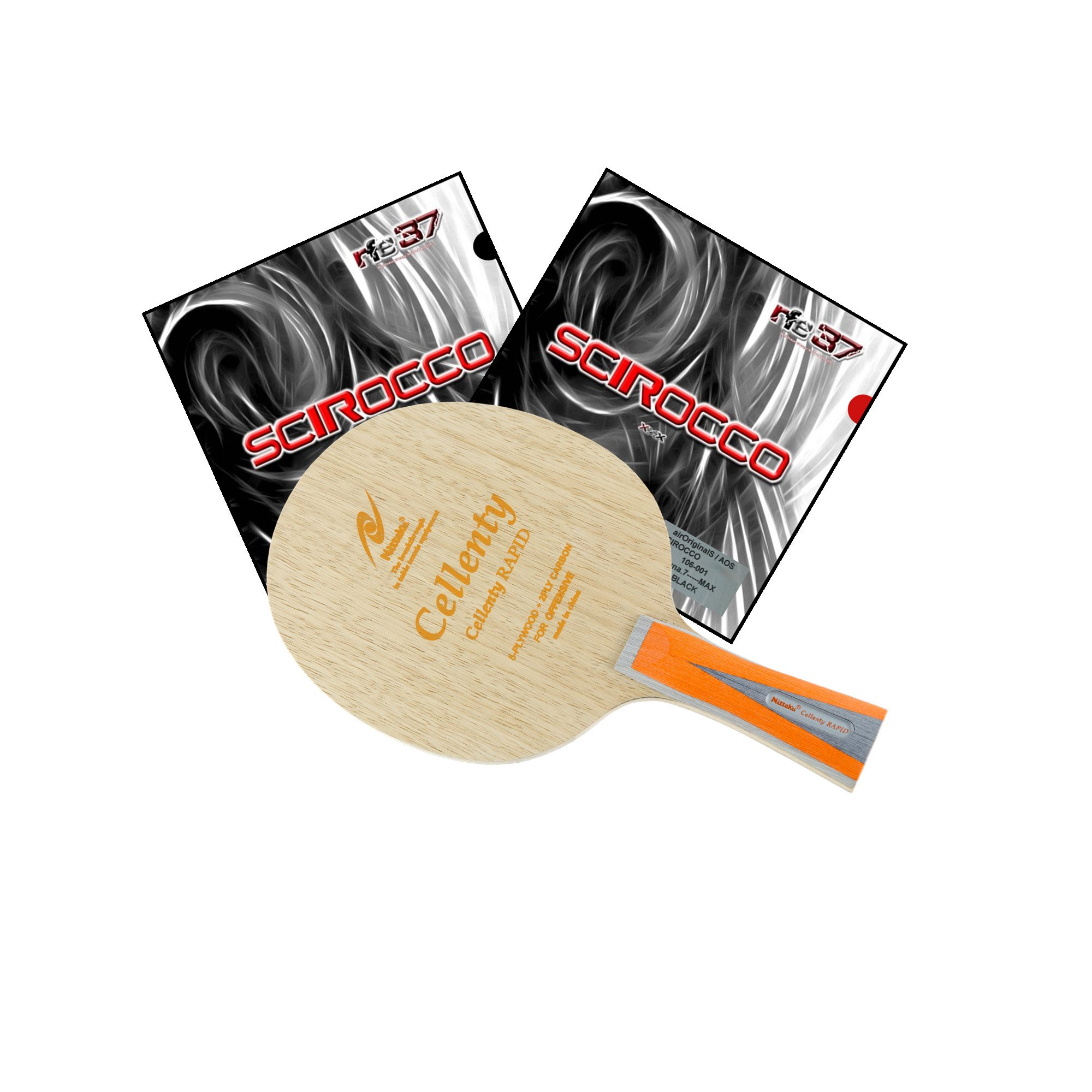 Nittaku Cellenty Rapid Carbon FL + Air Scirocco Table Tennis Racket