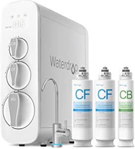 Waterdrop RO Reverse Osmosis Drinking Water Filtration System, NSF Certified, 400 GPD, Tankless, Smart Faucet, 1:1 Drain Ratio, UL Listed Power, USA Tech, WD-G3-W, Bundle, comes with 6 filters