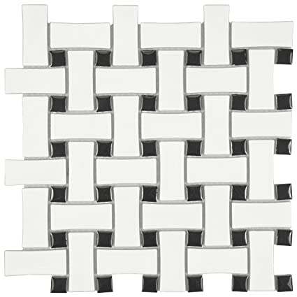 Somertile Fdxmbwwb Retro Basket Weave Glazed Porcelain Mosaic Floor