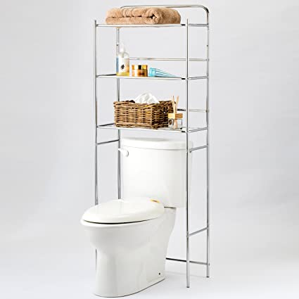 Amazoncom Mygift Chrome Plated Metal Over The Toilet 3 Tier