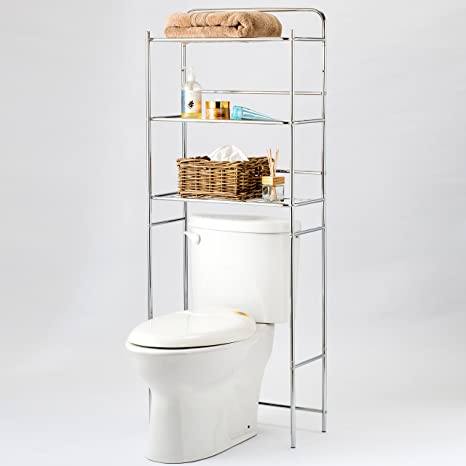 Amazon.com: Chrome Plated Metal Over-the-Toilet 3 Tier Bathroom ...