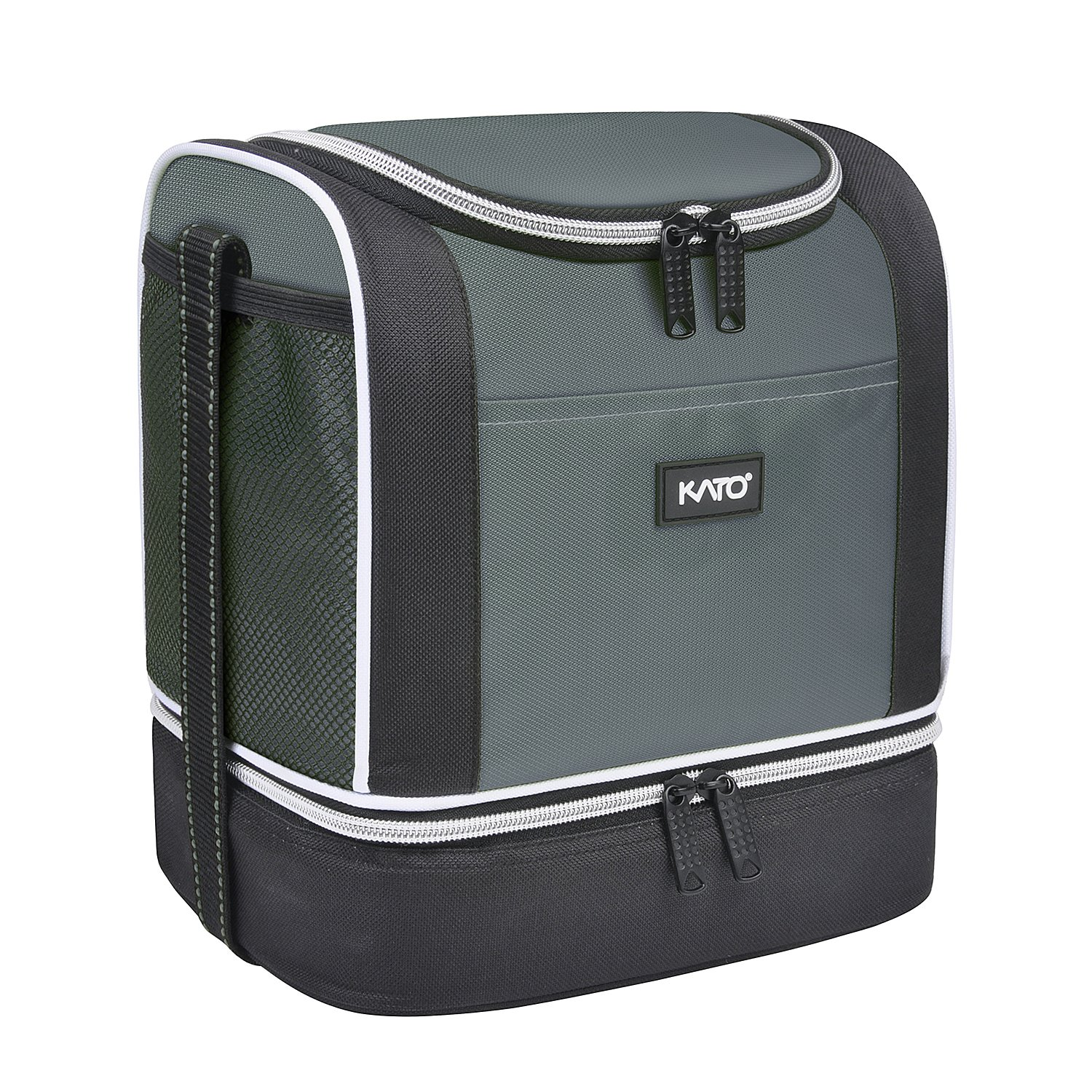 Kato Insulated Lunch Bag, Dual Compartment Portable Bento Cooler Totes for Men and Women, Gray