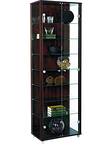 6644c8b6f130 HOME Wenge Double Glass Display Cabinet with 7 Glass Shelves
