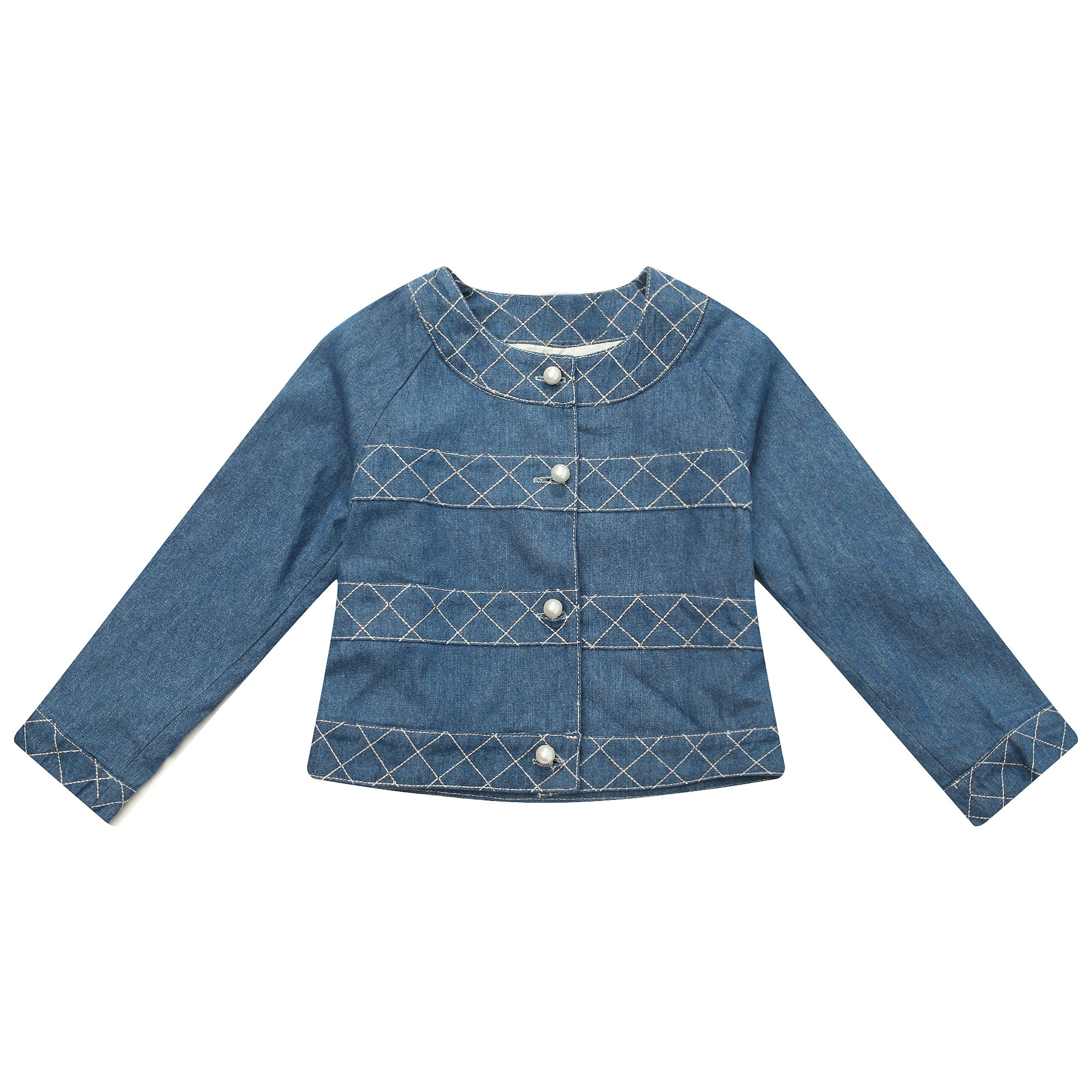Richie House Little Girls' Cute Short Denim Coat with Thick Thread Embroidery Decoration RH1126-4/5