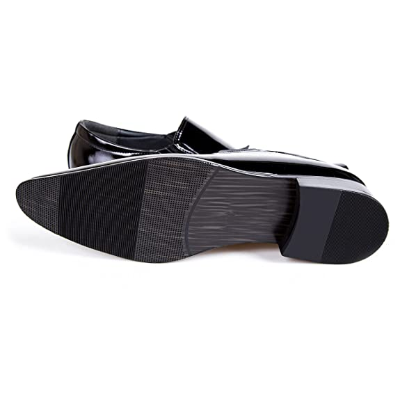 Robelli Men's Formal Black Patent Leather Slip On Loafer Shoes - Style 006:  Amazon.co.uk: Shoes & Bags