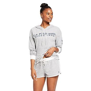 U.S. Polo Assn. Womens Cuffed Sleeve Athletic Hoodie Sweatshirt and Shorts  Pajama Lounge Sleep Set 87bb72702