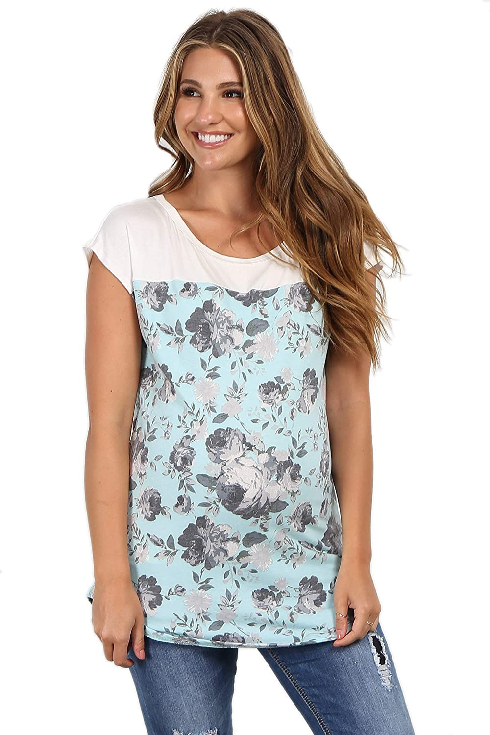 PinkBlush Maternity Floral Colorblock Short Sleeve Top