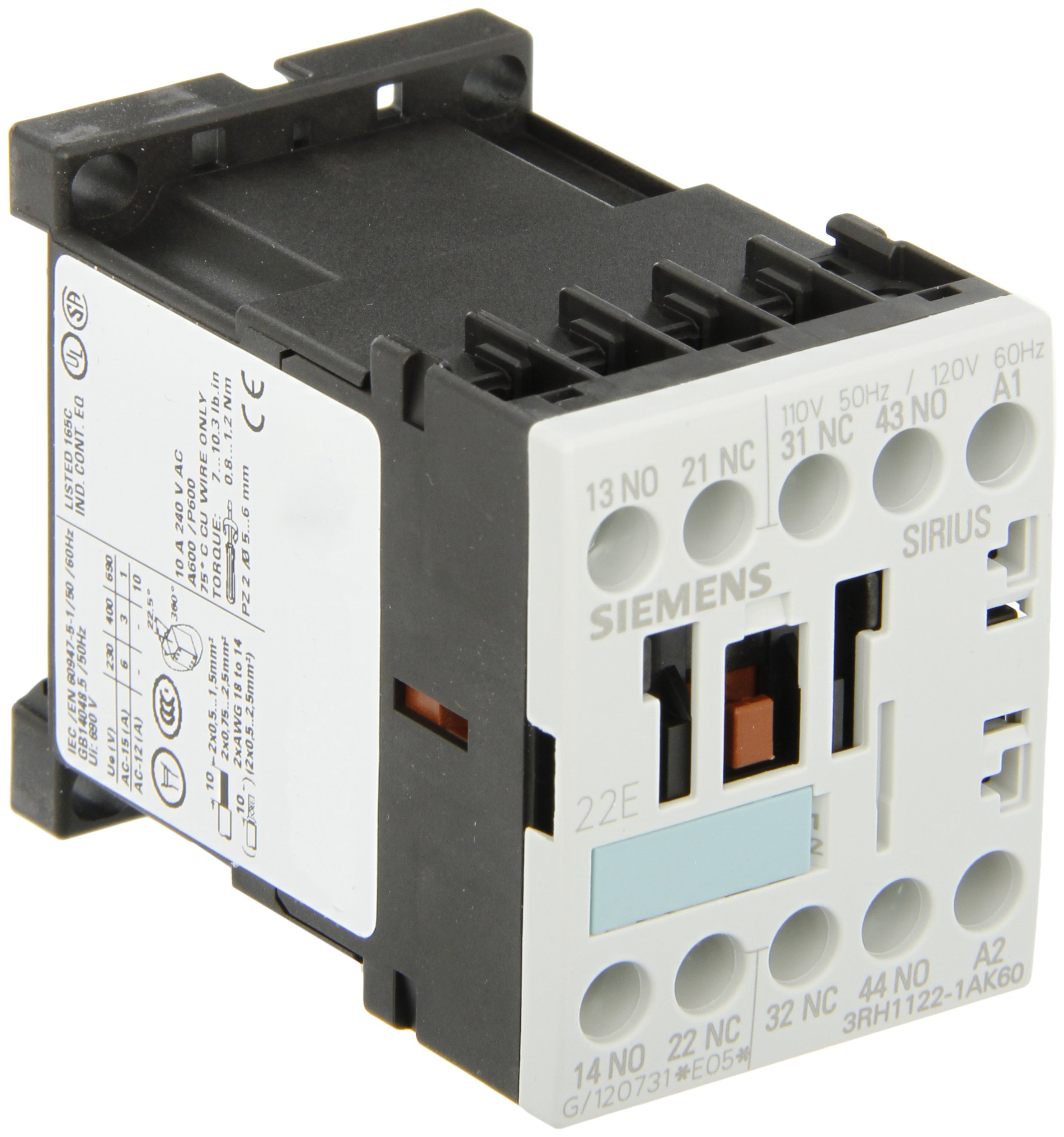 Siemens 3RH11 22-1AK60 Control Relay, Size S00, 35mm Standard Mounting Rail, AC Operation, Screw Connection, 22 E Identification Number, 2 NO + 2 NC Contacts, 120 V 60 Hz Control Supply Voltage