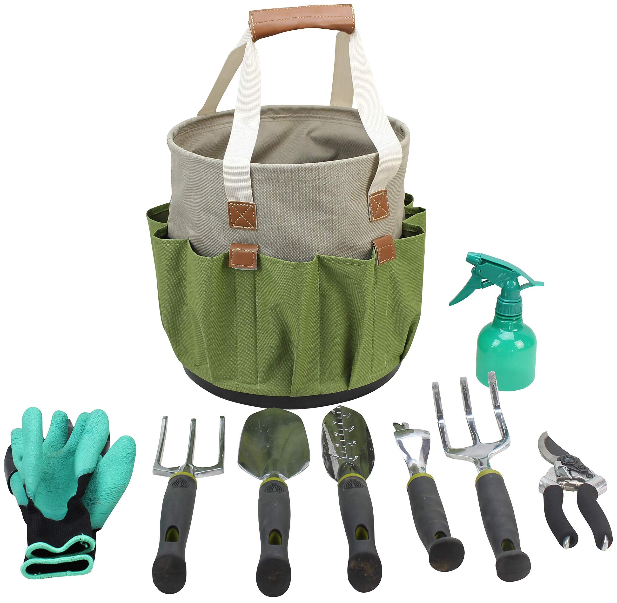 Garden Tools Set | Gardening Gifts | Gardening Tools Set | 9 Piece Garden Tool Set | Digging Claw Gardening Gloves Succulent Tool Set | Planting Tools | Gardening Supplies Basket | Rake Gloves by CALIFORNIA PICNIC