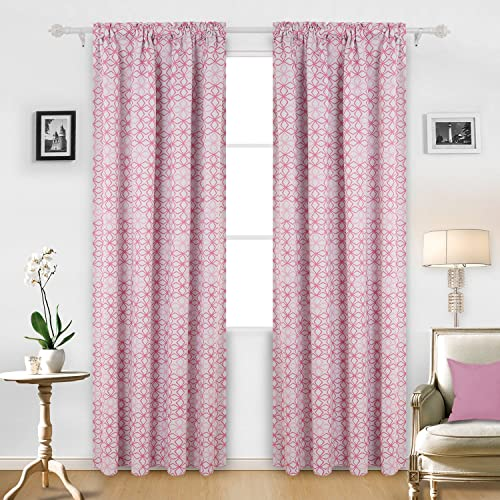 Deconovo Thermal Insulated Curtains-Rod Pocket Darkening Window Diamond Petals Print Blackout Panel
