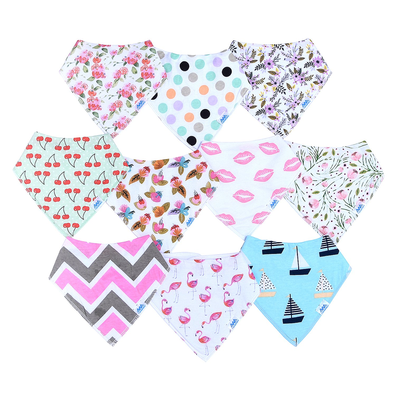 Amazon 10 Pack Baby Girls Bandana Drool Bibs Gift Set for