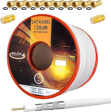 HB-DIGITAL 50m 135dB Cable coaxial SAT Cobre puro PRO Cable coaxial de antena blindado de 5 veces para sistemas DVB-S / S2 DVB-C y DVB-T BK + 10x ...