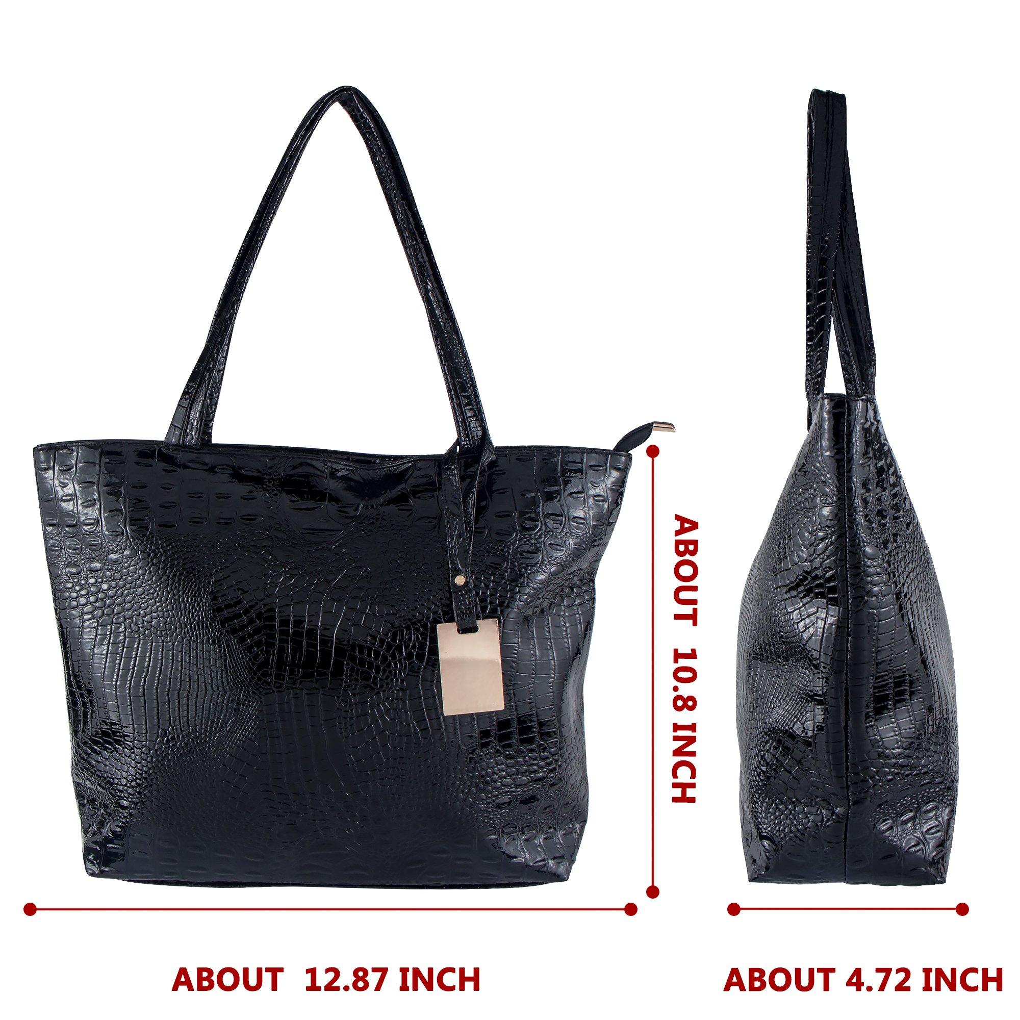 Bagood Womens Crocodile Pattern PU Leather Casual Shopping Handbags High Capacity Shoulder Ladies Soft Bag for Wedding Bridal Prom Party Black by Bagood (Image #4)