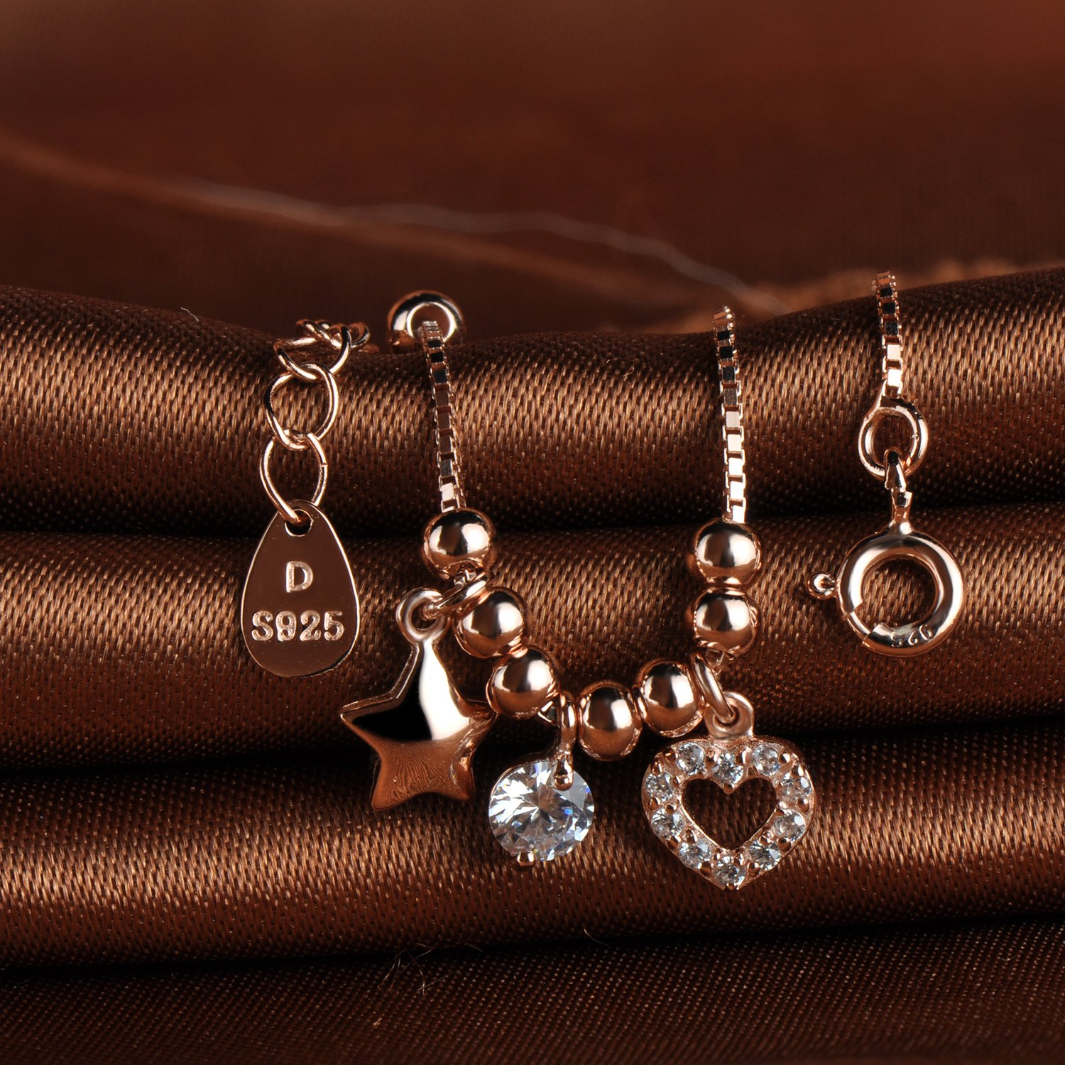 Infinite U Girls 925 Sterling Silver Cubic Zirconia Moveable Star Heart Beads Charm Adjustable Link Bracelets Rose Gold Plated