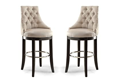 Wholesale Interiors Harmony Button Tufted Fabric Upholstered Bar Stool With  Metal Footrest, Beige